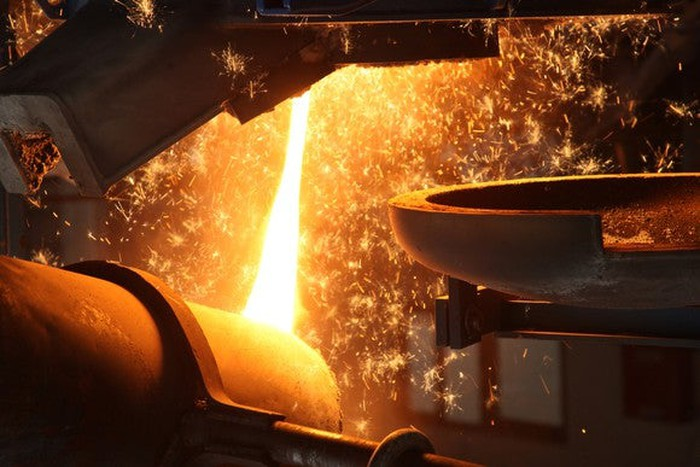 An aluminum smelter in operation.