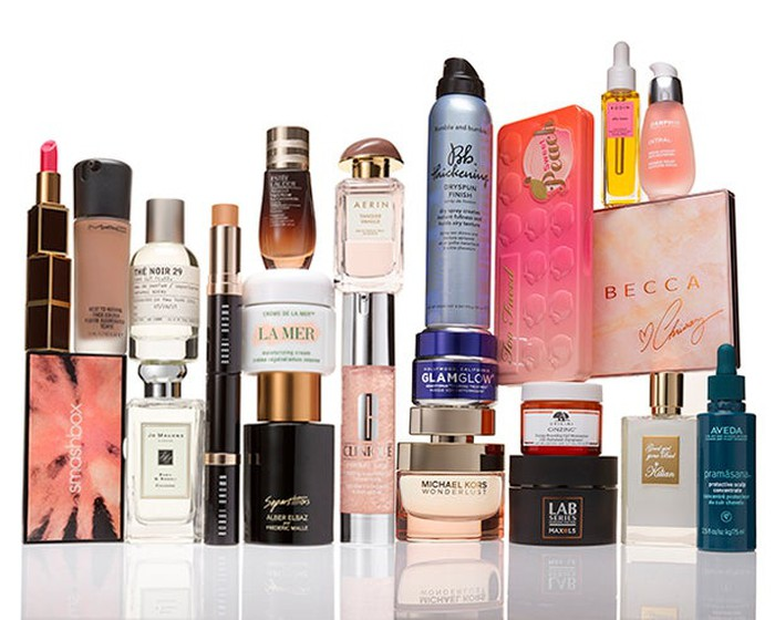 A display of nearly two dozen beauty products sold by Estee Lauder.