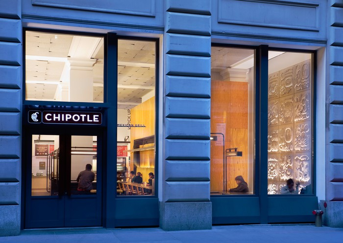The entrance to a Chipotle location in Manhattan