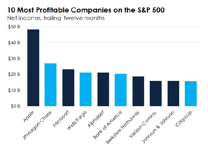 Bar chart showing the 10 most profitable companies on the S&P 500 over the past year.