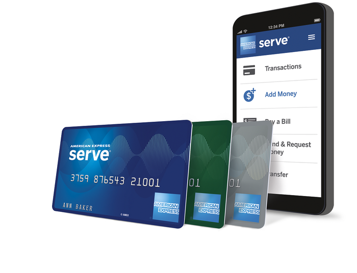 Smartphone running AmEx Serve app, with Serve cards standing next to it.