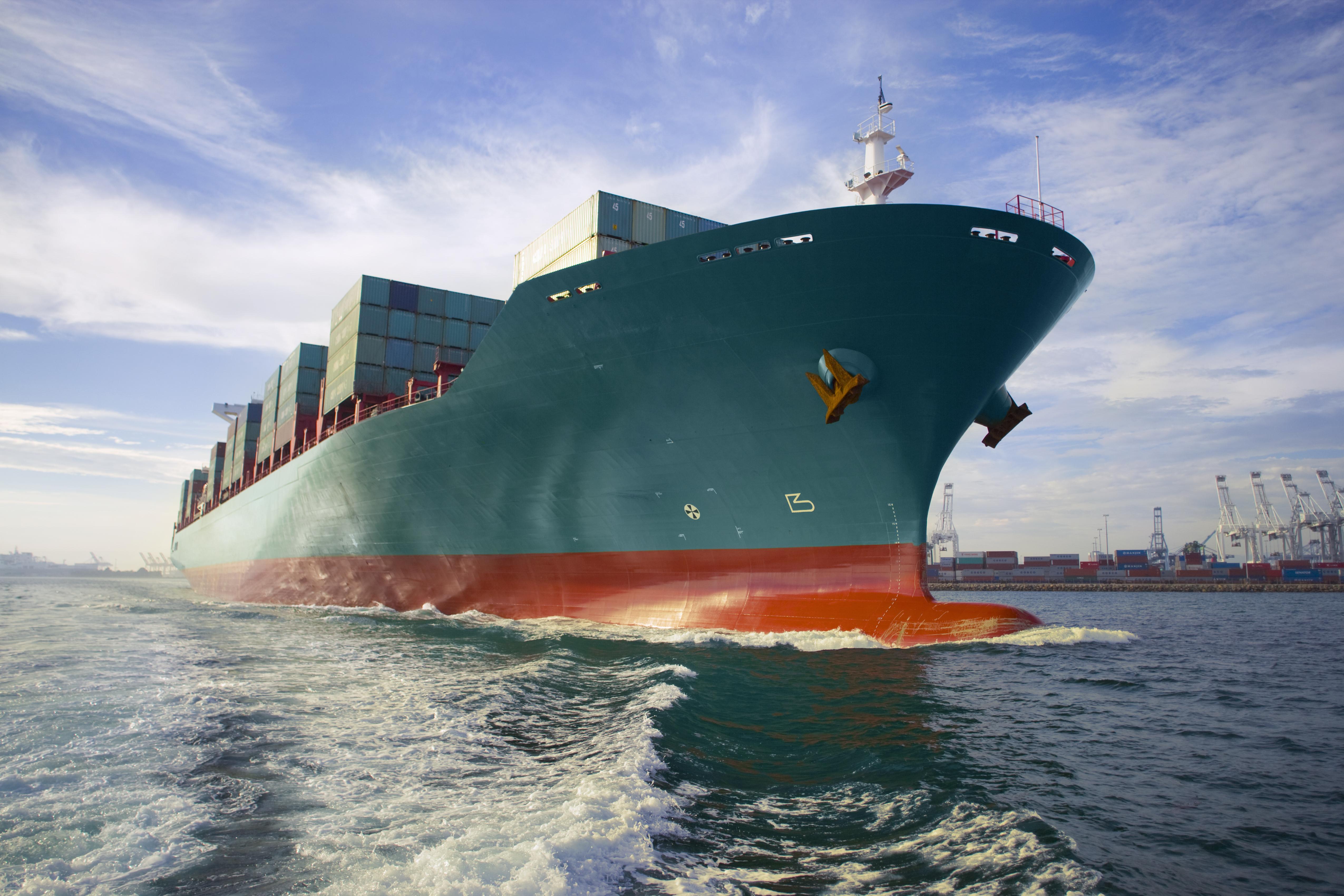 A container ship near a port terminal..