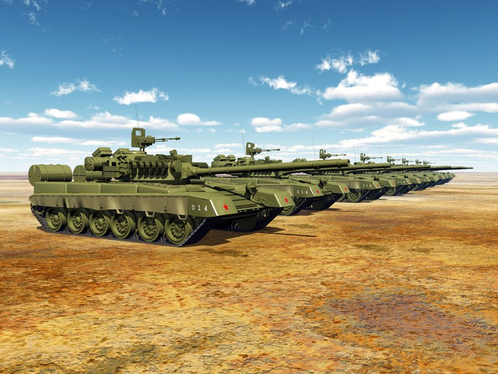 Russian main battle tanks standing in a line