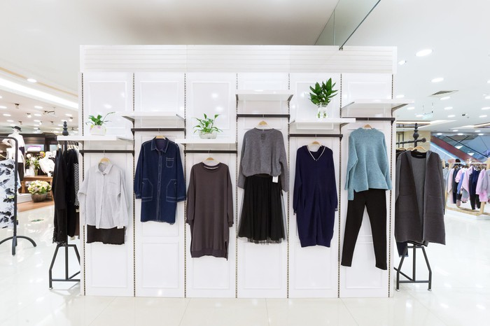 A wall mount of women's clothing apparel