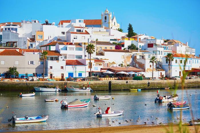 Scenic view of fishing boats in Ferragudo, Algarve, Portugal