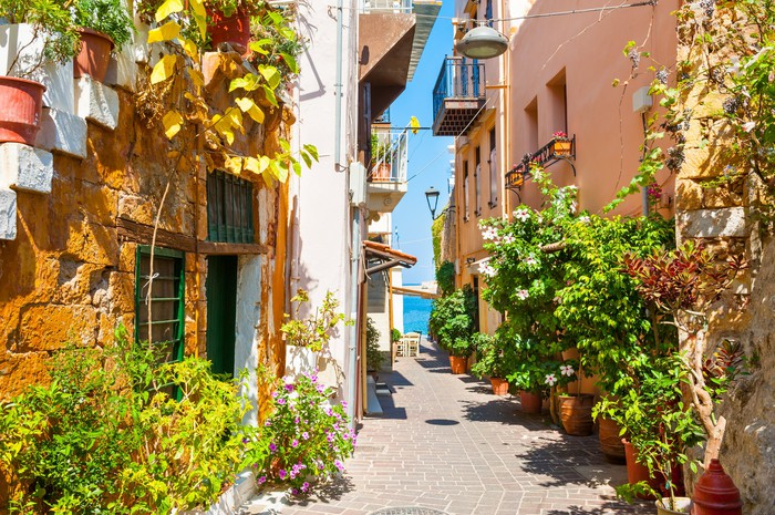 Beautiful street in Chania, Crete, Greece. Summer landscape