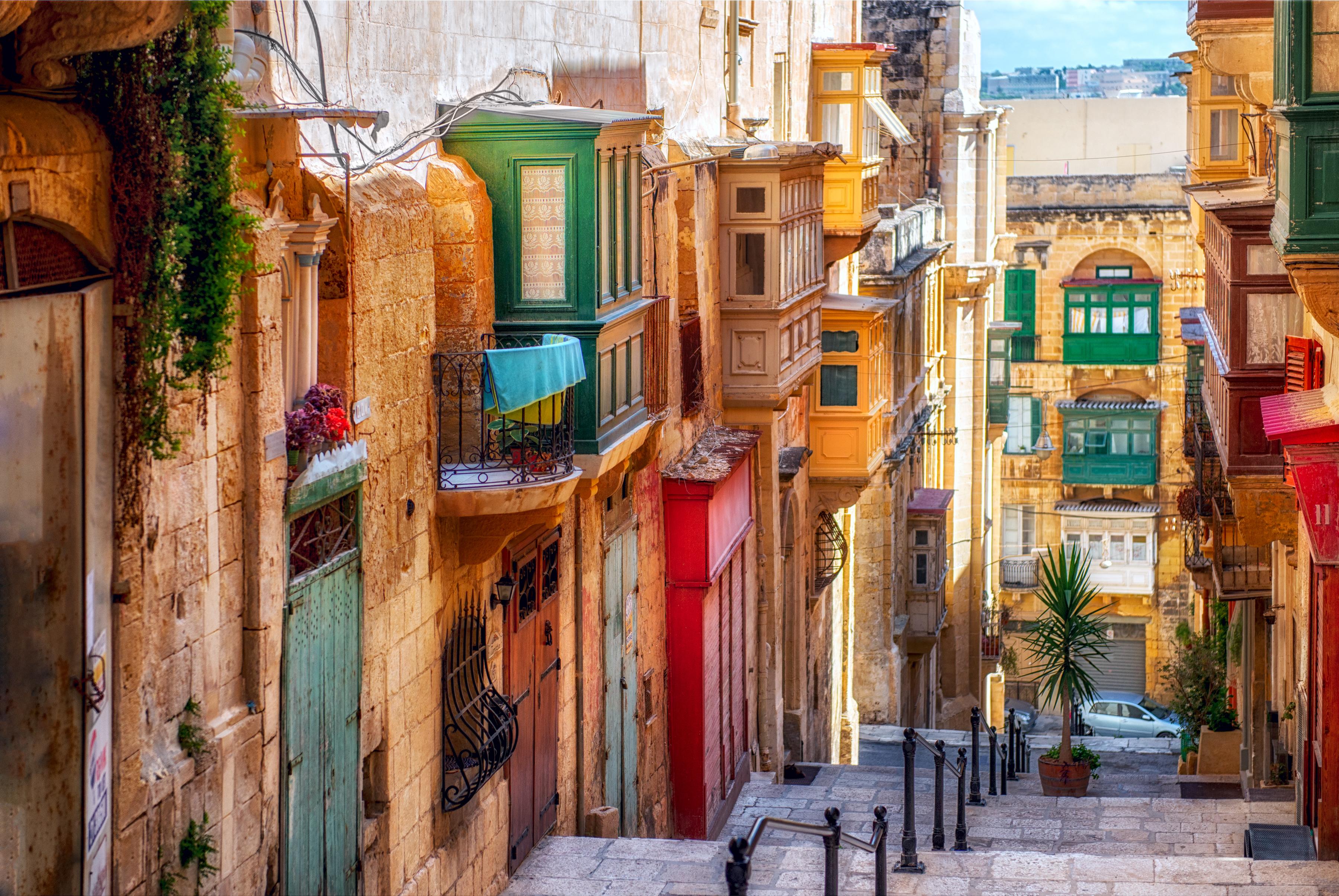 Narrow street in Valletta, the capital of Malta.