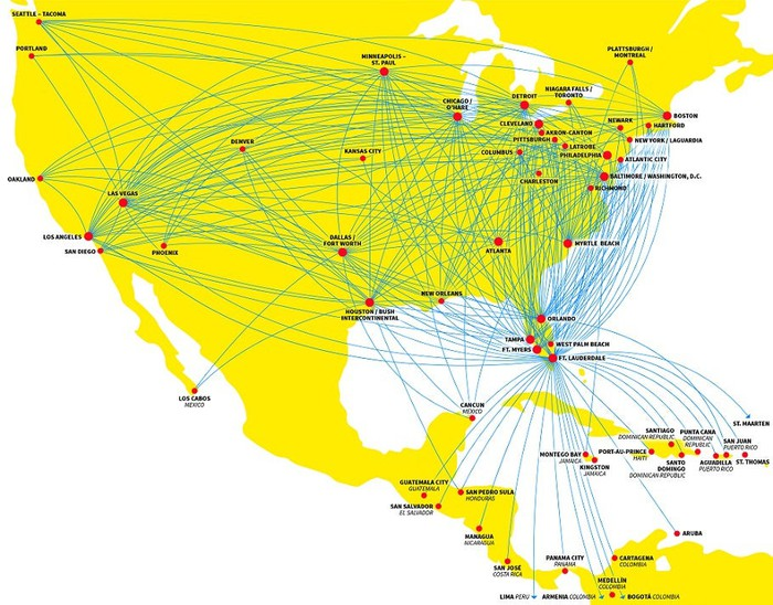 A map showing all of Spirit Airlines' routes