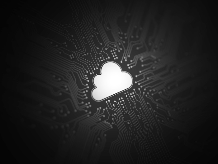 A puffy cloud surrounding by digital circuits.