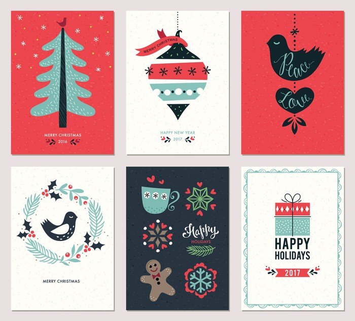An illustration of holiday cards