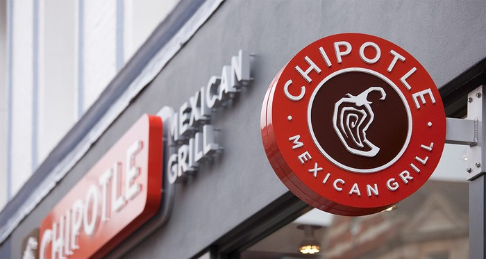 A Chipotle sign outside a restaurant.