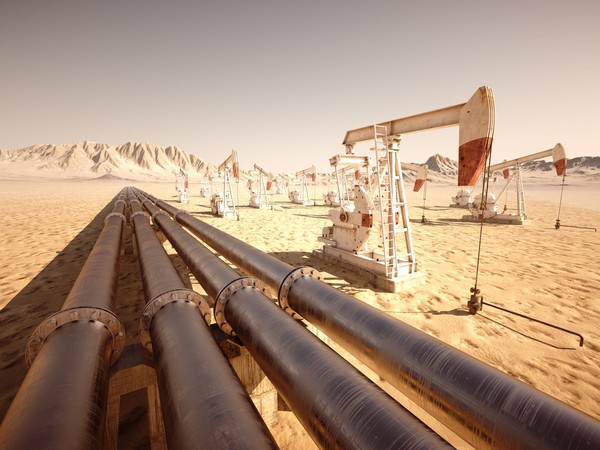 Getty Oil Pumps and Pipes in Desert