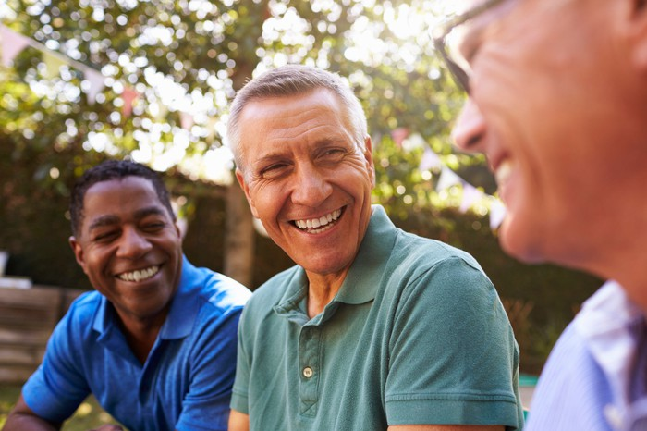 Smiling middle-aged men