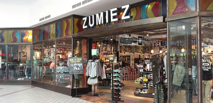 A Zumiez store in Wilton, NY.