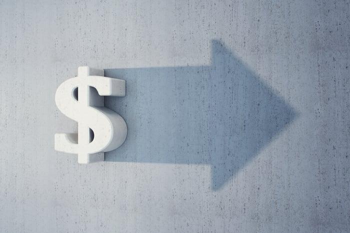 A dollar sign and an arrow pointing forward