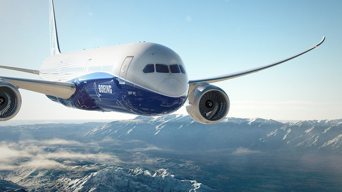 A 787 Dreamliner in the air