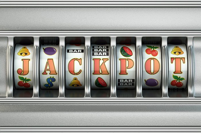 Jackpot spelled out in slot machine