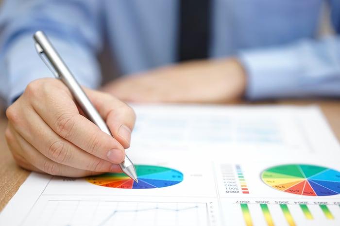 A businessman working on a company's charts.