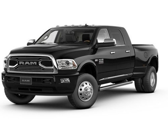 A black Dodge Ram pickup against a white background.