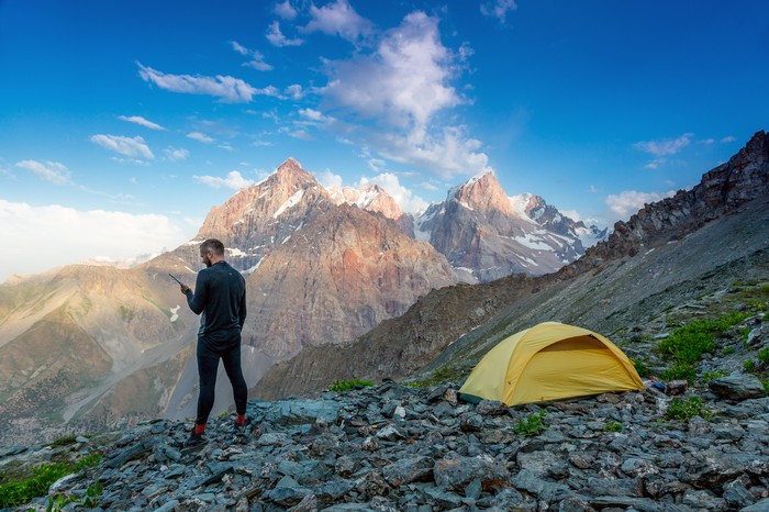 Camping on the side of a mountain
