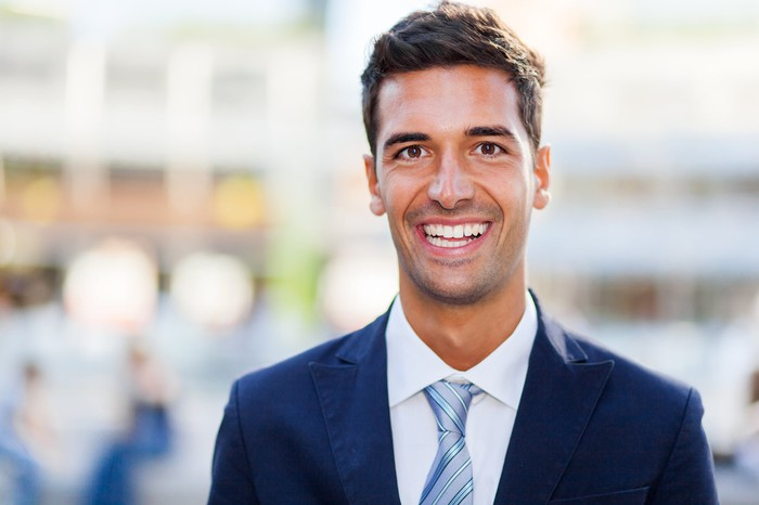 Smiling man in business suit