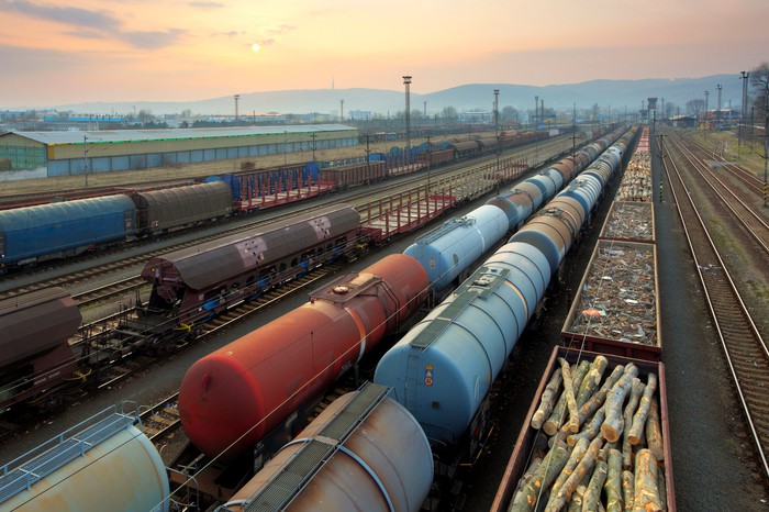 Freight trains and railways at sunset.
