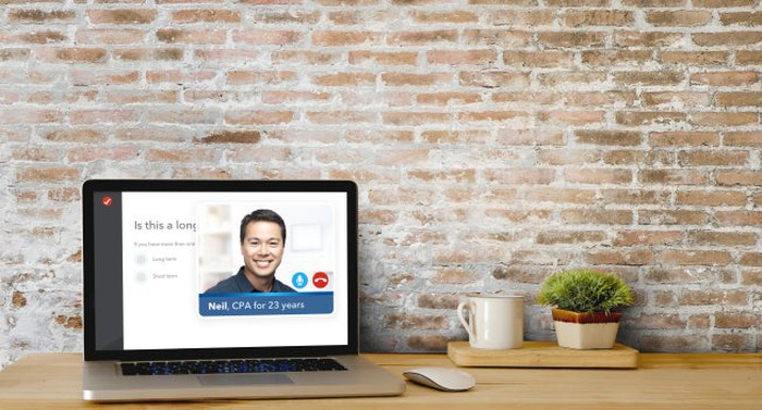 Intuit's new TurboTax Live one-way video on a laptop