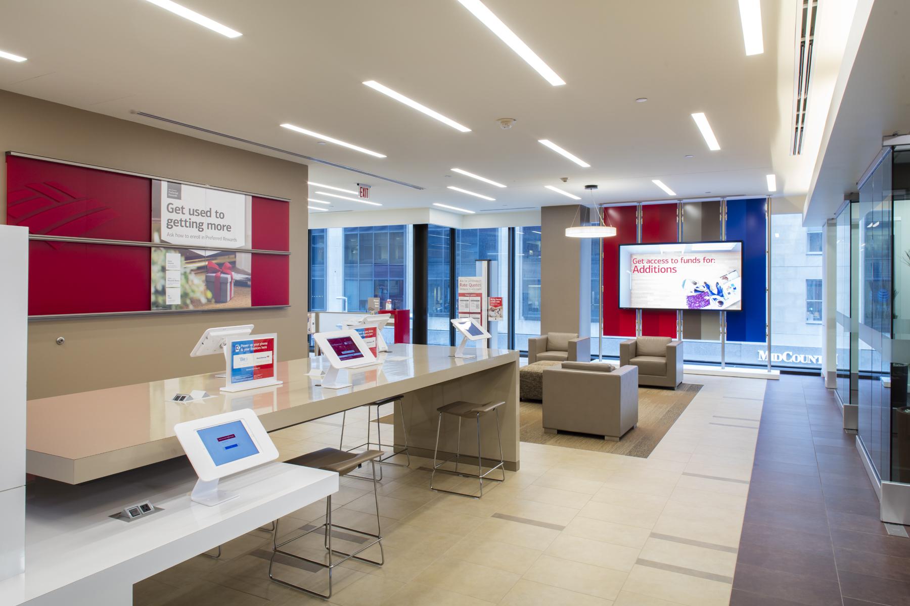 Lobby of a modern Bank of America branch