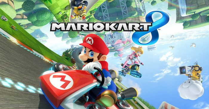 Nintendo's Mario Kart game depicting characters racing in a cartoonish environment.