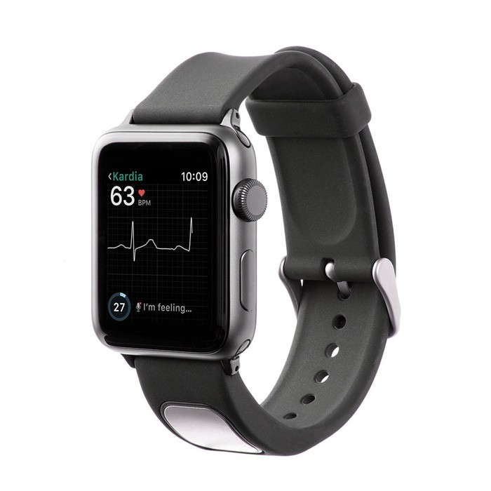 An Apple Watch featuring the KardiaBand and displaying a heart rate.