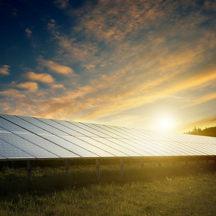 Large solar installation in a field.