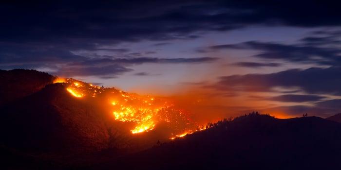 Wildfire on a hillside