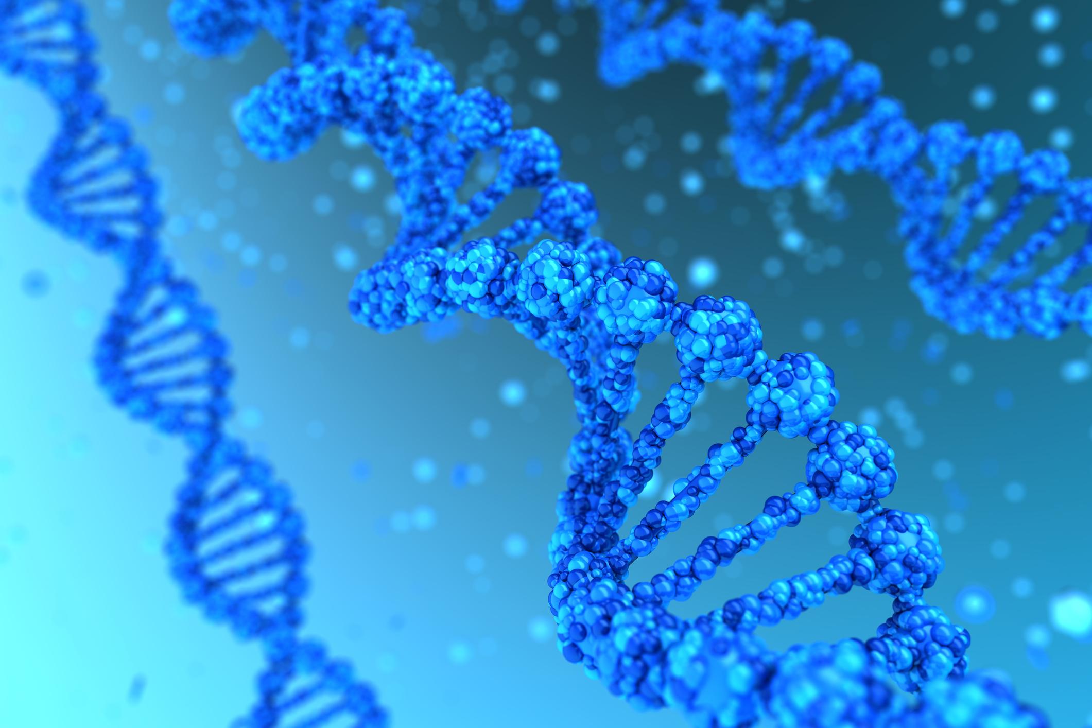 Detailed representation of a DNA molecule.