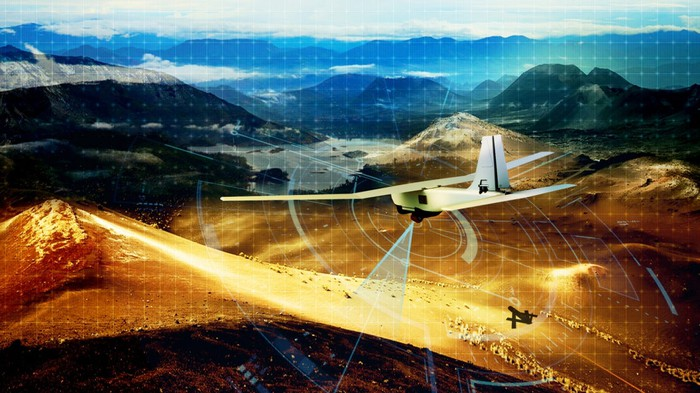 Depiction of unmanned aerial vehicle scanning landscape and navigating.