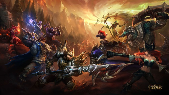 Two groups of characters from League of Legends staring each other down, ready for battle.