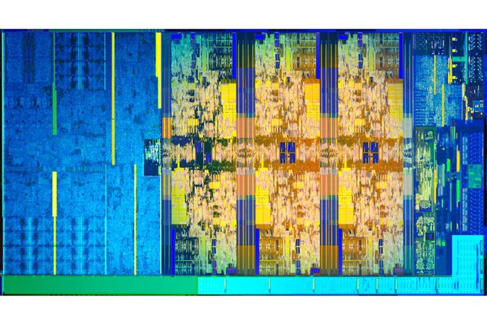 A bare die shot of Intel's hex-core Coffee Lake chip.
