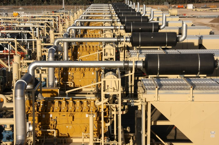 Row of gas compressors.