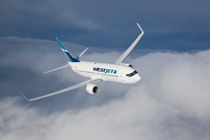 A WestJet plane flying over clouds