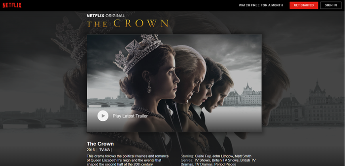 Netflix landing page for its original show The Crown.