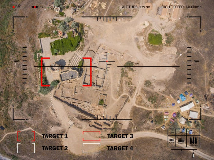Aerial view of a drone spying ground targets