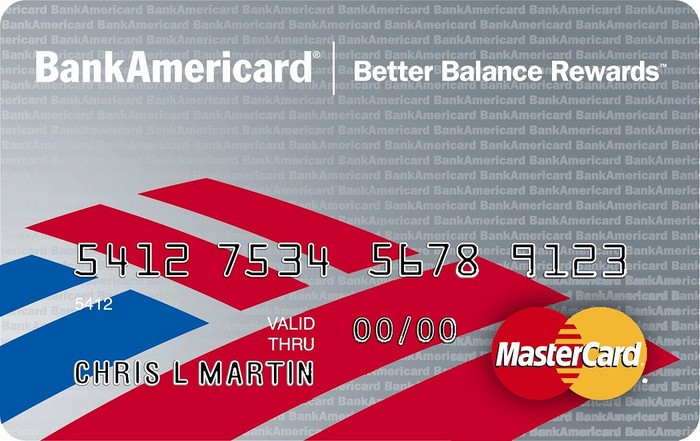 Sample Bank of America credit card, grey with red and blue logo.