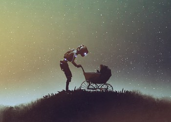 Robot looking into a stroller against starry sky