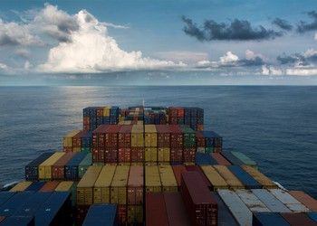 A containership at sea.