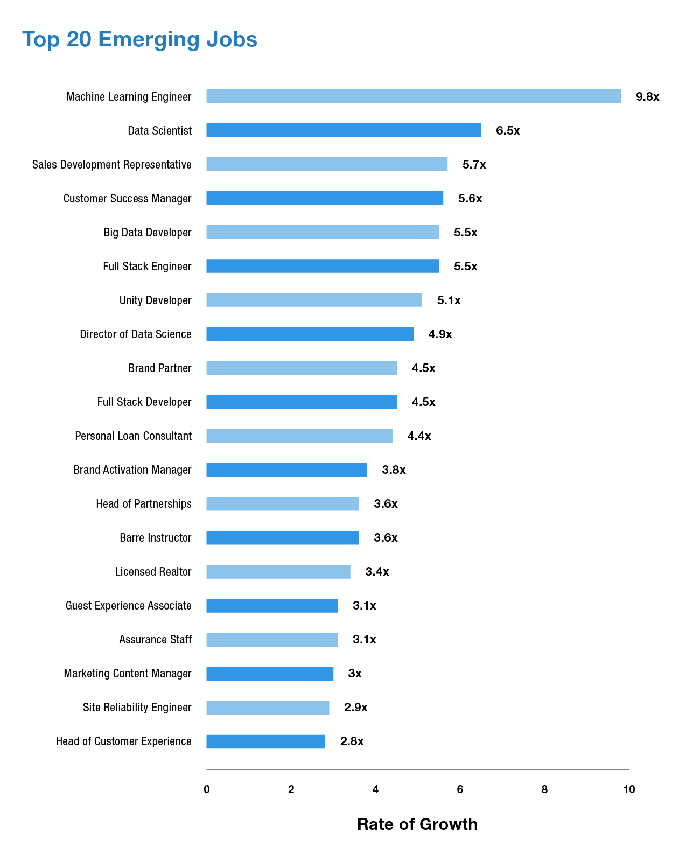 A chart of the top-20 emerging jobs.