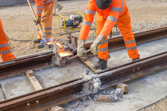 Workers building a new railway.