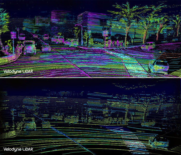 Two images produced by LiDAR showing views of a road, illuminating cars and nearby buildings.