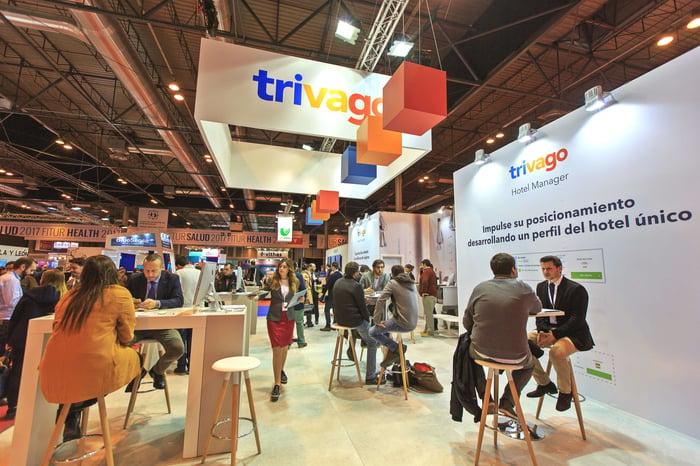 Trivago booth at a European trade show.
