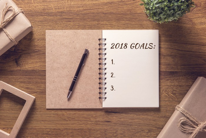 Notebook with 2018 goals written on a sheet of paper