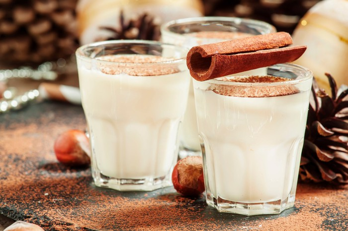 Three glasses of eggnog on a table