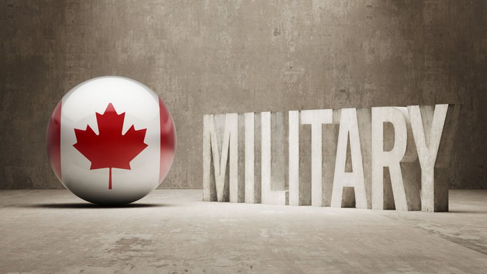 Canadian maple leaf next to word military